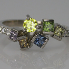 Solid 18ct White Gold Multi Coloured Sapphire and Diamond Ring