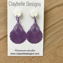 Purple Feathered Filigree Statement Earring
