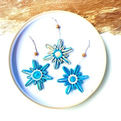 Christmas Tree Snowflake Ornament Tag Hanging Decoration Blue Natural Set of 3-6