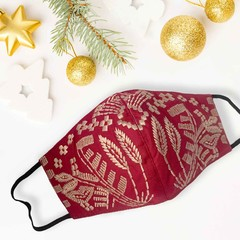 POST XMAS SALE - Embroidered Cotton Face Mask - Red