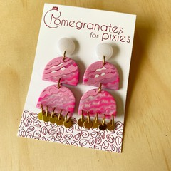 Ferah Statement Earrings in Pink and White Glitter Sorbet with Brass Disks