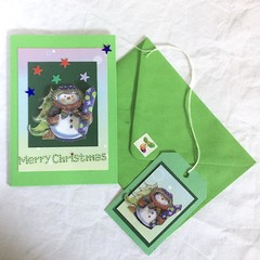 Green 'Very Special Xmas Card- 'Merry Christmas'  and Snowman with Gift Tag