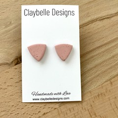 Dusty Pink Granite Flecked Triangle Studs