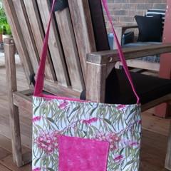 Pink Flowering Gum Tote Bag with Pocket
