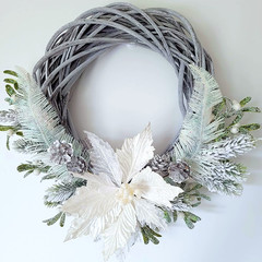 White Poinsettia & Cedar Willow Wreath - Christmas Wreath - Gift for the Home
