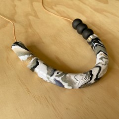 Asymmetric Tube Necklace in Grey Marble