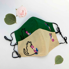 NEW ARRIVAL - Embroidered Cotton Face Mask - Cat