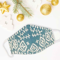 NEW ARRIVAL - Embroidered Cotton Face Mask - Teal