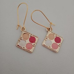 Gold paint box / cosmetics charm earrings