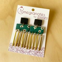 Elke Statement Earrings in Ditsy Daisy with Brass Drops.