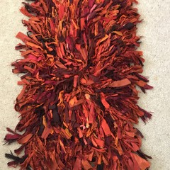 Recycled silk deep rust terracotta Rug mat
