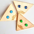 Hand Painted and Resined Petite Silver Stud Earrings