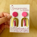 Ella Earrings in Pink Ripple with Large Brass Arch