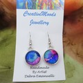 Silver tone Alcohol Ink Drop Dangle Hook Earrings