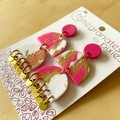 Ferah Statement Earrings in Pink and Gold Glitter Sorbet with Brass Disks