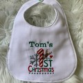 1st first Christmas, personalised baby bib
