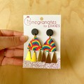 Nisa Statement Earrings in Rainbow with Triangle Brass Drops