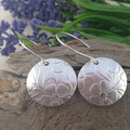 Unique Sterling Silver Flower Disc Earrings. Upcycled from a Vintage Spoon.