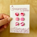 Triple Mini Stud Combo Pack in Pink and Red