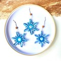 Christmas Tree Snowflake Ornaments Tags Hanging Decorations Blue  Set of 3-6