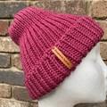 Mens or ladies pink  merino knitted beanie