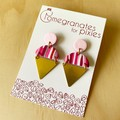 Kamile Statement Earrings in Pink Ripplel with Brass Triangles
