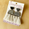Serra Statement Earrings in Black and White Stripe with Cotton Tassels