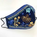PRE XMAS SALE - Embroidered Cotton Face Mask - Blue