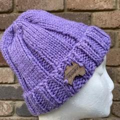 Mens or ladies purple alpaca beanie