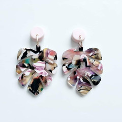 Pastel Pink Polymer Clay and Multi coloured Acrylic Leaf Monstera Dangle Earring