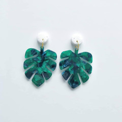 Marble Stone Polymer Clay and Green Acrylic Leaf Monstera Dangle Earrings