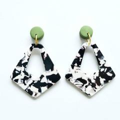 Khaki Olive Green Polymer Clay and Black White Grey Monochrome  Acrylic Diamond