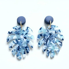Blue and White Polymer Clay Multicoloured Acrylic Leaf Monstera Dangle Earrings