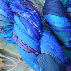 Silk Sari Ribbon ~ * Recycled Silk from India *~ 100gram Skein Blues Purple