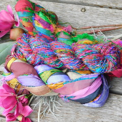 ~*~  Recycled Silk Ribbon from India 3x approx 100g Skein  2 x Silk 1 Banana~*~