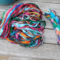 Silk Sari Ribbon ~ *Recycled Chiffon from India *~ 100gram Skein Mixed Patterns