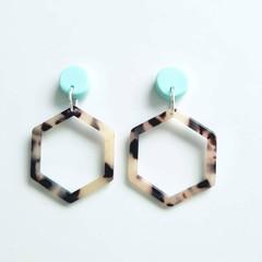 Mint Green Polymer Clay and BeigeTortoise Shell Acrylic Hexagonal Dangle Earring