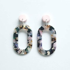 Pastel Pink Polymer Clay and Multi coloured Acrylic Dangle Earrings
