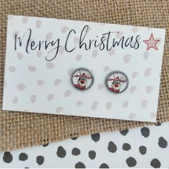 Glass dome stud earrings Happy Reindeer