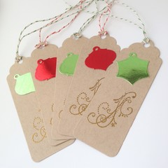 Christmas Gift Tags - Green, Red and Gold on Kraft (5)
