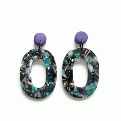 Dark Purple Polymer Clay and Multi coloured Acrylic Dangle Earrings