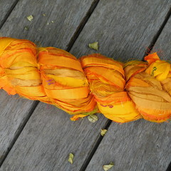 Silk Sari Ribbon ~ * Recycled Silk from India *~ 100gram Skein Deep Yellow