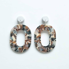 Pastel Grey Polymer Clay and Multi coloured Acrylic Dangle Earrings