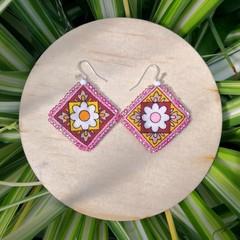 Boho Pink Fabric Earrings