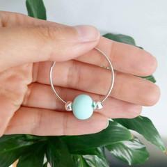 Mint Green Polymer Clay Silver Hoop Earrings