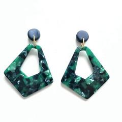 Navy Polymer Clay and Green Multi Coloured Acrylic Diamond Dangle Earrings