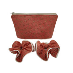Pretty Orange Flowers Fabric Women's Cosmetic Toiletry Zipper Pouch Scrunchies