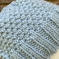 Mens or ladies blue alpaca beanie