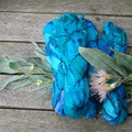 Silk Sari Ribbon ~ * Recycled Silk from India *~ 100gram Skein Blue Green