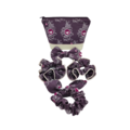 Pretty Purple With Birds Fabric Women's Makeup Toiletry Zipper Pouch Set